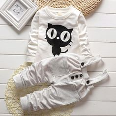 Owl O-neck Long Sleeved T-shirts Tops   Overalls Pants 2pcs