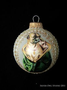 """""""Vintage pug ornament on etsy"""" sold out. maybe more stock next year? Pugs, Xmas Pictures, Pug Art, Dog Ornaments, Pug Love, Xmas Cards, Christmas Bulbs, Merry Christmas, Victorian Fashion"""