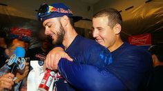 Kris Bryant and Anthony Rizzo (Bryzzo) after they clinched the NL Central for the 2017 season.
