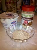 This is my newest creation, mix powdered peanut butter (very low fat) with fage no fat Greek yogurt and a little stevia sweetener. Sometimes I add mini choc-chips or bananas. I love to spread this on top of Tone it Up protein pancakes too! *I also make it with chocolate powdered pb!