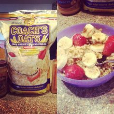 @sarahhbethhxo loves Coach's Oats! This morning she enjoyed her oatmeal with strawberries, bananas, cinnamon, almond milk, peanut butter, and brown sugar! #coachsoats #oatmeal