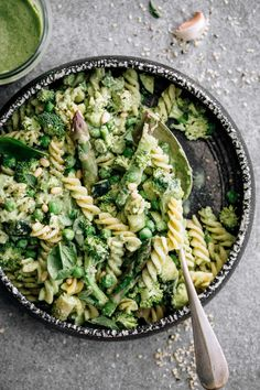 This Oil-Free Vegan Pesto Pasta is a healthy, protein-rich meal that is so easy to make. We use only whole food ingredients for the low fat bean pesto! Vegan Pesto Pasta, Pesto Pasta Recipes, Asparagus Pasta, Pesto Recipe, Easter Breakfast Recipes, Easter Recipes, Breakfast Bake, Healthy Dinner Recipes, Whole Food Recipes