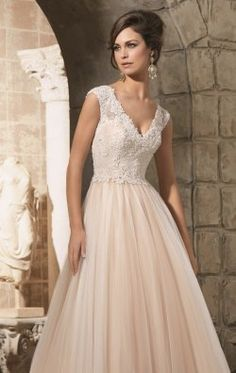 V-Neckline Lace Gown by Blu by Mori Lee 5368