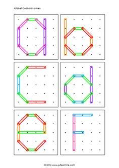 Geobordvormen alfabet kleine letters