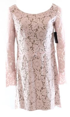 Vera Wang NEW Pink Beige Women's Size 6 Popover Floral Lace Sheath Dress $200