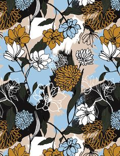 Winter graphic flowers print on Behance