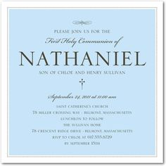 Lovely Style: Boy - Communion Invitations in Stream | Hello Little One