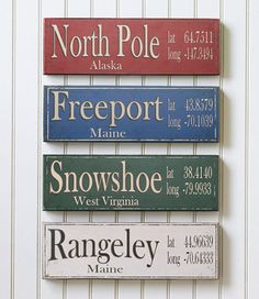 Latitude/Longitude Sign: Wall Decorations | Free Shipping at L.L.Bean  I'm thinking of putting up these signs showing all the places we have lived.
