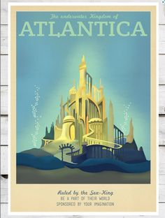 """Pin for Later: The Very Best '80s and '90s Nostalgia Gifts For Retro Fans The Grown-Up Little Mermaid Print Retro-style """"Atlantica"""" travel poster (£5)"""