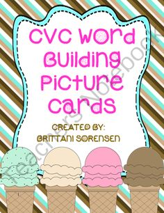 20 CVC Word Building Picture Cards: Teaches Vowels and Spelling Skills from MadForKinder on TeachersNotebook.com -  (13 pages)  - 20 CVC Word Building Picture Cards: Teaches Vowels and Spelling Skills