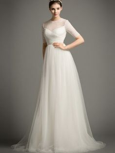 a35d83f9409 Tulle A Line Wedding Gown with Embellished Illusion Mesh Bodice