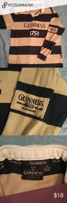 Guinness blue/tan striped rugby polo XL Beautiful and rare item. Show off your love for the Irish dark lager with this super stylish rugby polo! Very nice condition with nice color and no major flaws! Vintage Shirts Polos