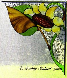 Stained Glass & Wire Window Corners Sunflowers by DobbyGlass Custom Stained Glass, Stained Glass Designs, Stained Glass Projects, Stained Glass Patterns, Stained Glass Art, Stained Glass Windows, Mosaic Glass, Stained Glass Flowers, Art Corner