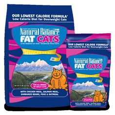 Have an overweight kitty? Try new Fat Cats Low Calorie Dry Cat Formula. Dick Van Patten's Natural Balance Fat Cats™ low calorie dry formula is made specifically for overweight adult cats. Designed to keep your pet nutritionally balanced even though they are eating fewer calories, this diet offers a special protein and fiber blend to help your cat lose weight in a healthy and delicious way.