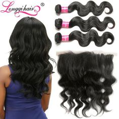 13*4 Ear to Ear Lace Frontal Closure with Bundles 100% Virgin Human Hair Brazilian Body Wave Hair Longqi Beauty Hair