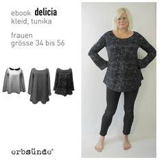 Delicia - Kleid, Tunika, Shirt  Bildergalerie der Probenähbeispiele: http://www.erbsuende.com/galerie/delicia/  Achtung: das Schnittmuster muss komplett im Querformat ausgedruckt...