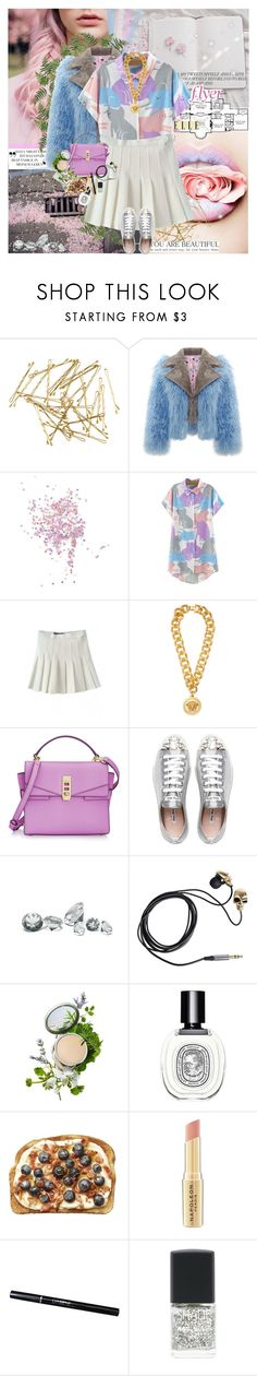 """""""#BEAUTIFULHALO 27"""" by nensy ❤ liked on Polyvore featuring H&M, Topshop, Home Source International, WithChic, Versace, Henri Bendel, Miu Miu, Friis & Company, Origins and Diptyque"""