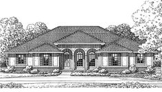 The is a classic <strong> Mediterranean ranch house plan</strong>.  The three car garage offers a lot of storage.  The open floor plan is great for empty-nesters.