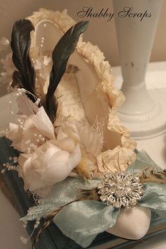 Marie Antoinette altered shoe by shabbyscraps, via Flickr