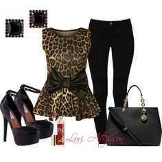 Leopard Peplum, created by lori-atkinson on Polyvore