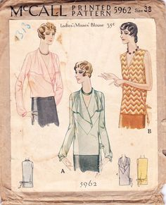 Vintage 20s blouse sewing pattern McCall 5962 by glassoffashion