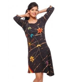 """Fun Spring Dress Fair Trade Rising International Boho Flower Dress  Fashionable and comfy asymmetrical dress! This dress is stonewashed, tie-dyed and hand appliqued.  Length is 36"""" to 40"""" 1X-3X"""