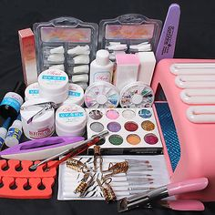 Nail Art Kit UV Builder Gel 36W Timer Dryer Lamp Decorations full Tools Set