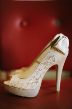 Lacy, bow-adorned heels. Photography by dianeandmike.ca, Shoes by chineselaundry.com
