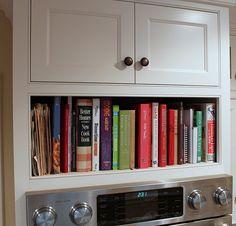 cabinets, kitchens, cookbook nook, ridg reviv, oven, hous idea, kitchen detail, cookbooks, cookbook storag