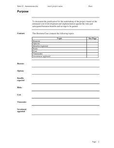 Business case template in word excel project management templates business case template flashek Gallery