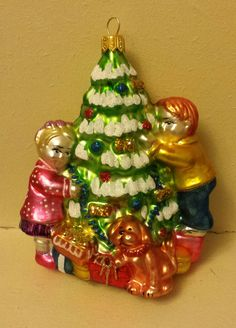 """Blown Glass Children Trimming the Tree Glass Christmas Ornament- 5"""" made in Poland by ukbeadsonline on Etsy"""