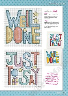 Greeting cards, part 2 Cross Stitch Gallery, Mini Cross Stitch, Cross Stitch Cards, Cross Stitch Designs, Cross Stitching, Cross Stitch Embroidery, Hand Embroidery, Cross Stitch Patterns, Well Done Card