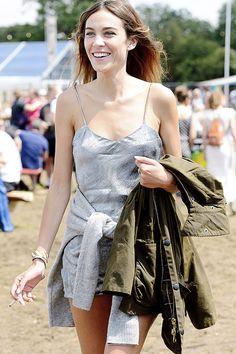 Alexa Chung attends the Glastonbury Festival at Worthy Farm on June 29, 2014 in Glastonbury, England.