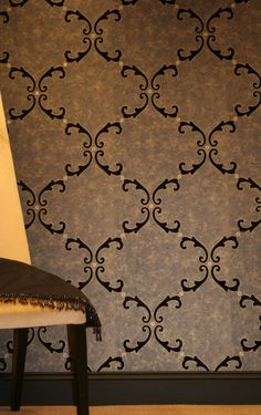 £151.90 Trellis Scroll Flocked Wallpaper crystallised (W1508/02/215) - Kandola Wallpapers - A smooth regal look in one colourway consisting of the fabulous bead and crystal effect with the other reflecting velvet flock luxury. Showing in Black and Old gold - other colour ways available. Please request a sample. Paste-the-wall. 64cm pattern repea