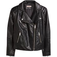 H&M+ Biker jacket ($61) ❤ liked on Polyvore featuring outerwear, jackets, coats, black, coats & jackets, plus size, black zip jacket, black motorcycle jacket, moto jacket and black biker jacket