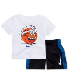 Nike Ball-Print T-Shirt & Shorts Set, Baby Boys - White 24 months Chill Outfits, Nike Outfits, Stylish Baby Boy, Boys Online, T Shirt And Shorts, Sporty Look, Cool Cartoons, Sleeveless Shirt, Big Boys