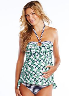 Maternal America - Tina Tankini in Gumball Print. Chic maternity swimwear online at Queen Bee