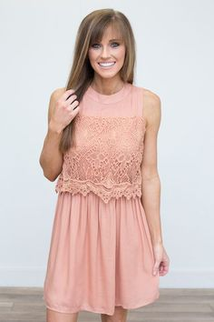 Shop our Crochet Lace Layered Dress in Salmon. Free shipping on all US orders!