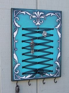 Victorian Corset Jewelry Display in Turquoise by AustinJames. $40.00, via Etsy.