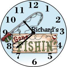Gone Fishin' Personalized Wall Clock Personalized Clocks, Wall, Design