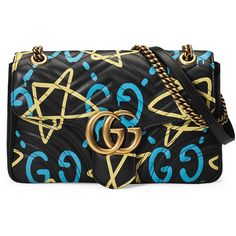 Gucci GG Writers Medium Graffiti-Print Shoulder Bag ($2,450) ❤ liked on Polyvore featuring bags, handbags, shoulder bags, black multi, quilted leather shoulder bag, quilted chain strap shoulder bag, zip shoulder bag, quilted handbags and gucci shoulder bag