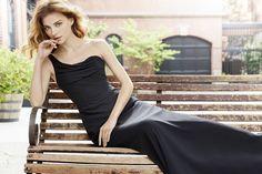 Style 5757 | Black chiffon A-line bridesmaid gown, one-shoulder neckline, draped bodice, natural waist.