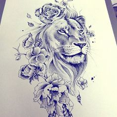 Male and yet female! Would be a great shoulder tattoo! - Male and yet female! Would be a great shoulder tattoo! Lion And Rose Tattoo, Lion Tattoo On Thigh, Lion Tattoo Sleeves, Full Sleeve Tattoos, Sleeve Tattoos For Women, Lion Tattoo With Flowers, Lion Tattoo With Crown, Lion Sleeve, Tattoo Flowers