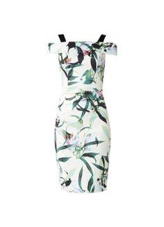 Karen Millen Off shoulder jurk met bloemendessin