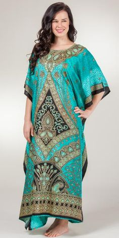 52d79c2337 Sante Polyester Caftans - Full Length Caftan Lounger in Empress Caftans,  Night Gown, Teal