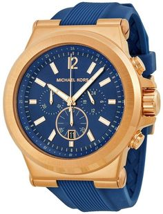 Michael Kors Dylan Navy Dial Rose Goldtone Navy Silicone Strap Mens Watch MK8295