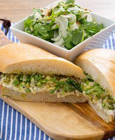 Asparagus & Ricotta Sandwich with Arugula, Almond & Fennel Salad Ciabatta Roll, Dinner Sandwiches, Fennel Salad, How To Cook Asparagus, Salad Plates, Arugula, The Fresh, Ricotta, Blue Apron