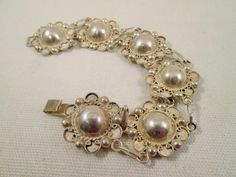 Sterling Link Bracelet Plata Mexico Silver Dome Panels 1950's Vintage Jewelry