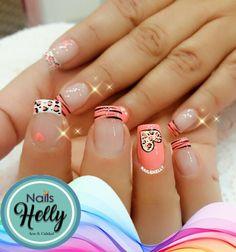 uñas salmon naranja diseño animal print Love Nails, My Nails, French Tip Design, Winter Nail Designs, Mani Pedi, Nail Arts, Winter Nails, Nail Inspo, Nail Design