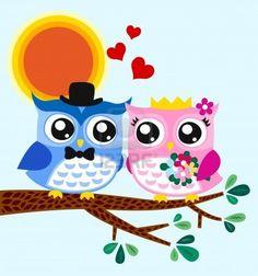 owl bride and groom  Stock Photo - 14557852